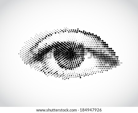 Abstract woman eye made from dots. Vector - stock vector