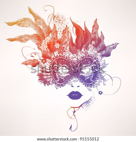 Abstract woman face with flowers. Vector colorful illustration - stock vector