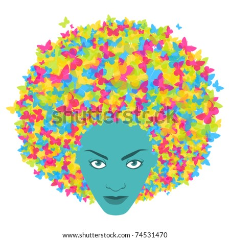 Abstract woman head with butterfly. Vector illustration. - stock vector