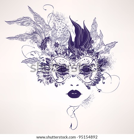 Abstract woman mask with flowers - stock vector