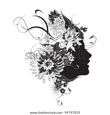 Abstract woman profile with flowers black and white - stock vector