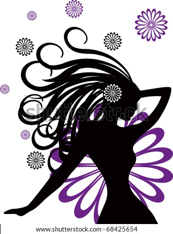 abstract women illustration vector hair face girl flower - stock vector