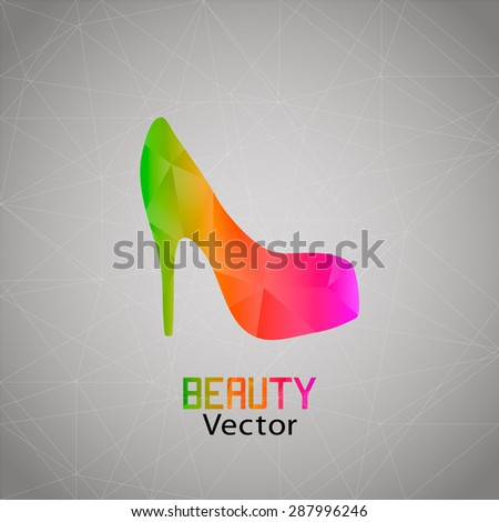Abstract women's shoes of colored triangles - stock vector