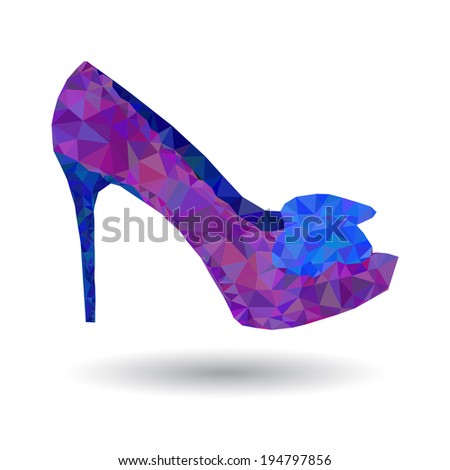 Abstract women's shoes origami style - stock vector