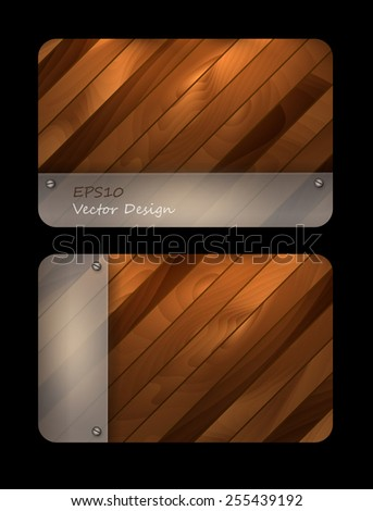 abstract wooden textured vector templates with mat glass. Eps10 - stock vector