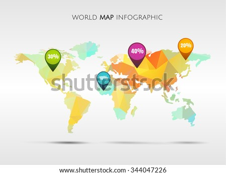 World map gps icons eps10 editable vectores en stock 128701304 abstract world colored triangle map with markers points and destinations gumiabroncs Gallery