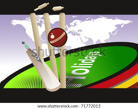 abstract world cup concept cricket background, vector illustration - stock vector