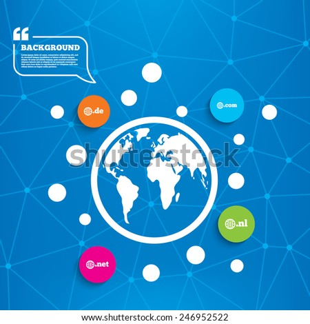 Abstract world globe. Top-level internet domain icons. De, Com, Net and Nl symbols with globe. Unique national DNS names. Molecule structure background. Vector - stock vector