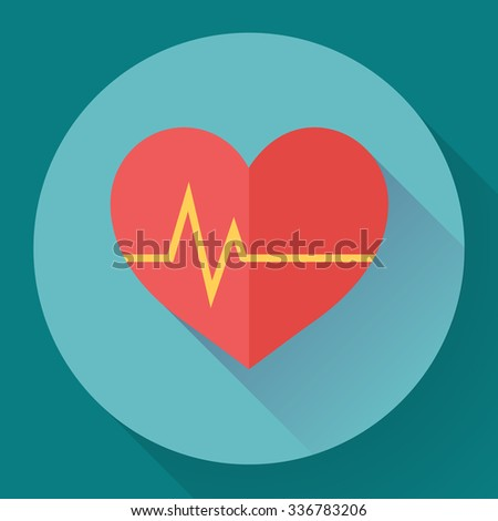 Abstract World health day concept with heart and heart beats. - stock vector