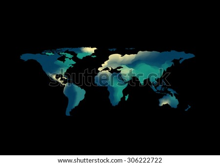 abstract world map background water color green and blue tone design style vector background elements of this image furnished by NASA can you fill text or use in poster and advertisement - stock vector