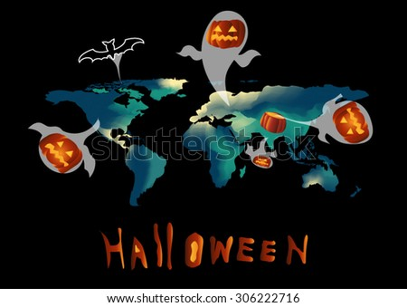 abstract world map background water color green and blue tone design style vector black background elements of this image furnished by NASA and halloween theme with ghost pumpkin and dark bat  - stock vector