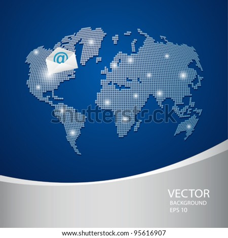 Abstract world map blue background, vector illustration - stock vector