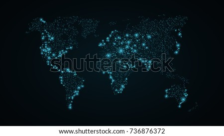 Abstract world map blue map earth stock vector 736876372 abstract world map blue map of the earth from the square points dark blue sciox Choice Image