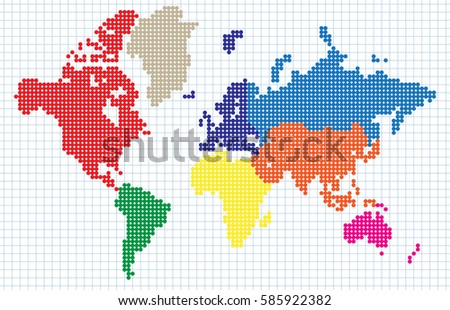 Abstract world map colored continents dot stock vector 585922382 abstract world map colored continents dot matrix isolated on red grid background vector gumiabroncs Images