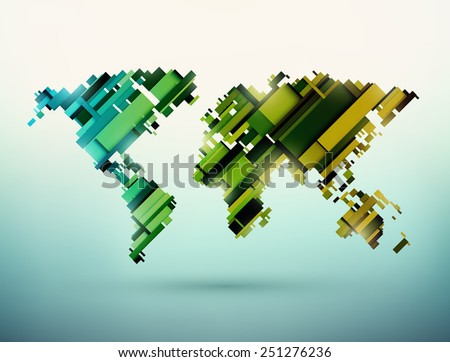 Abstract world map, eps 10 - stock vector