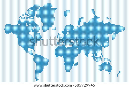 abstract world map in blue dot matrix isolated on blue vertical line background vector