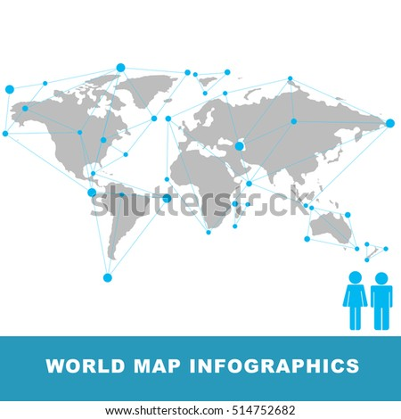 World map connection vector infographic vectores en stock 345842906 abstract world map infographic line connection polygonal style gumiabroncs Gallery