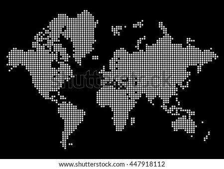 Abstract world map made dots white vectores en stock 447918112 abstract world map made of dots white dot world on black background vector gumiabroncs Choice Image