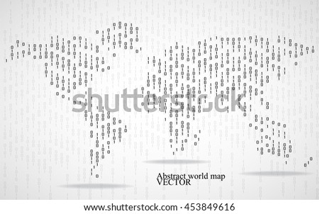 Abstract world map of binary computer code, technology background - stock vector