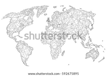 Abstract world map polygonal lines dots stock vector 592675895 abstract world map of polygonal lines and dots on a white background of vector illustration gumiabroncs Images