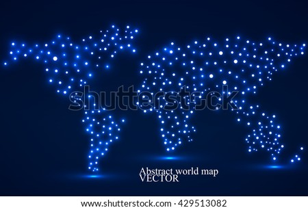 Abstract world map with glowing dots. Vector illustration. Eps 10 - stock vector
