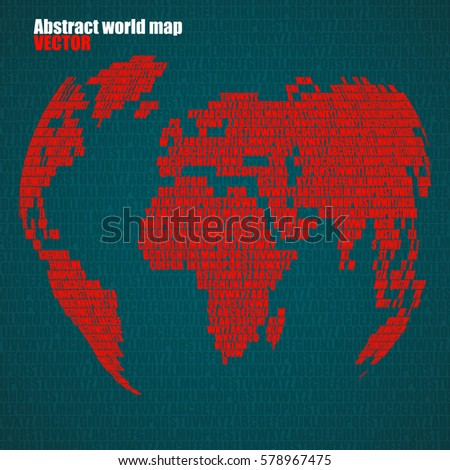 Abstract world map letters english alphabet stock vector 578967475 abstract world map with letters of english alphabet vector globe background gumiabroncs Images