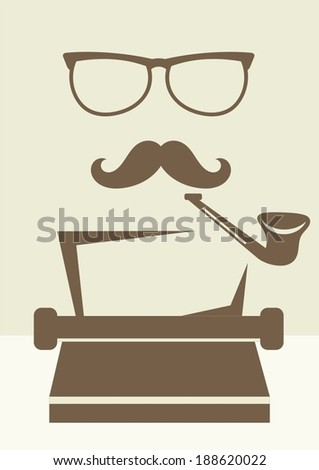 abstract writer character - stock vector