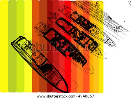 abstract yacht drawing - stock vector