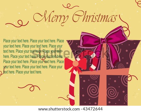 abstract yellow background with isolated xmas day gift box - stock vector