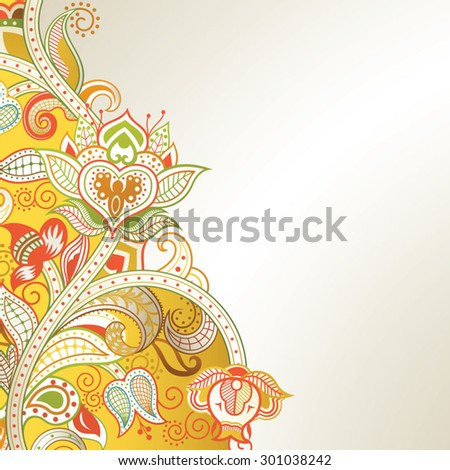 Abstract Yellow Floral Background - stock vector
