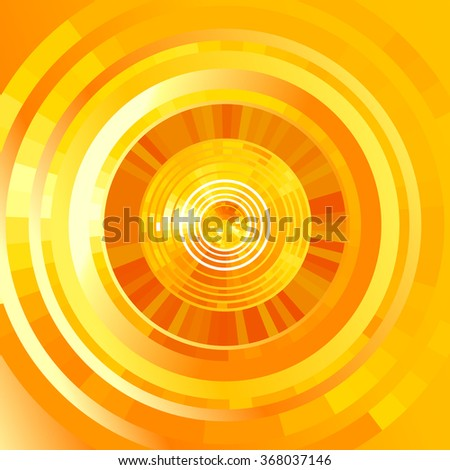 Abstract yellow futuristic  tunnel  background. Vector  elements for hi-tech design.  - stock vector