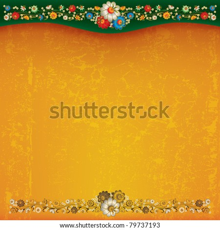 abstract yellow grunge background with floral ornament - stock vector