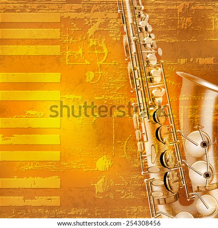 abstract yellow grunge piano background with saxophone - stock vector