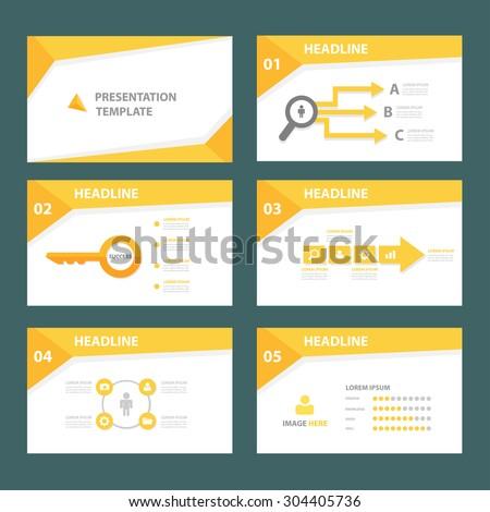 Abstract yellow multipurpose presentation brochure flyer template flat design set  - stock vector