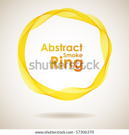 Abstract yellow smoke ring design element. - stock vector