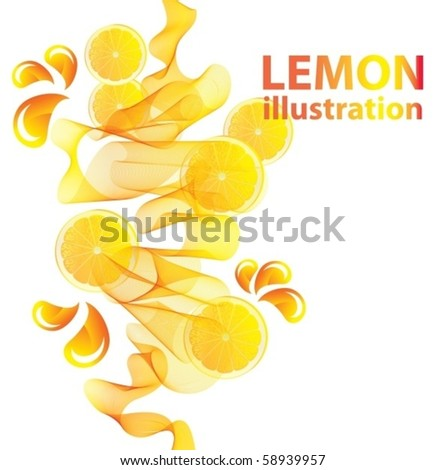 Abstract yellow vector background with lemon