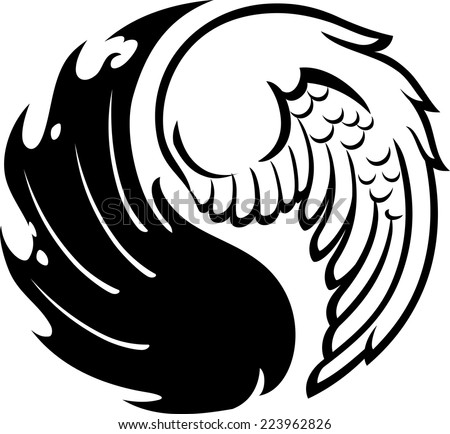 Abstract Yin Yang wings - stock vector