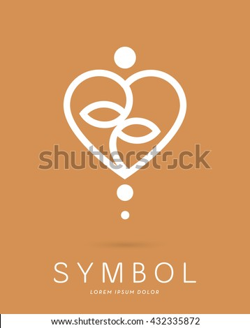 ABSTRACT YOGA SILHOUETTE , INCORPORATED WITH A HEART SHAPING A YIN YANG SYMBOL , VECTOR ICON / LOGO IN NATURAL COLORS - stock vector