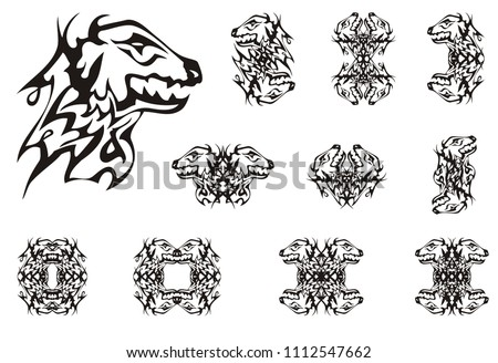 Abstract Young Dragon Head Symbols Tribal Stock Vector 1112547662