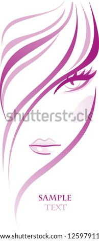 Abstract young girl with beautiful thick hair. Female background - stock vector