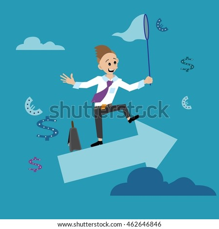 abstraction. businessman, people, standing on the arrow catches the coins. cartoon vector illustration