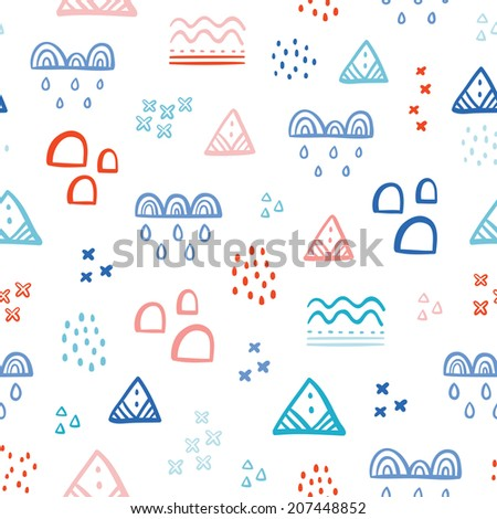 Abstraction seamless pattern with different color shapes and spots - stock vector