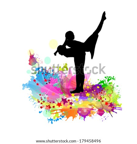 abstraction two girls acrobats. Vector - stock vector