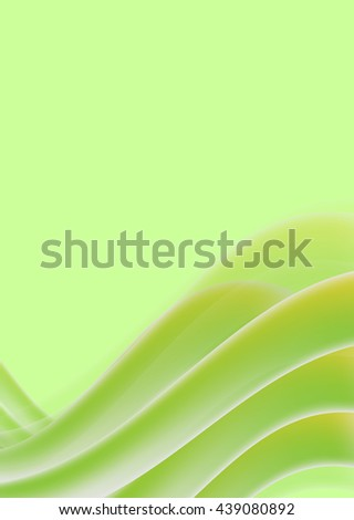 Abstraction with wavy green lines, brochure design template, wave motion, abstract flyer, size A4, vector illustration