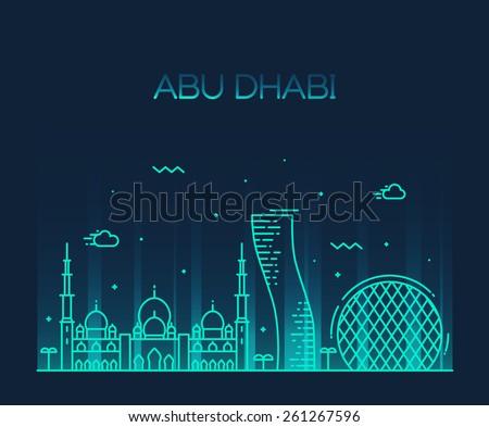 Abu Dhabi City skyline detailed silhouette. Trendy vector illustration, line art style. - stock vector