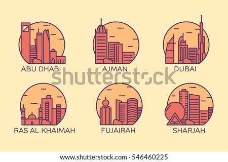 Line Art Illustration Style : Abu dhabi dubai ajman ras al stock vector 546460225 shutterstock