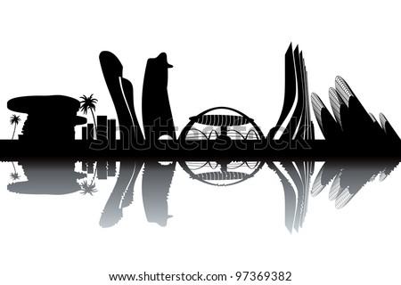 Abu Dhabi skyline - stock vector