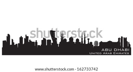 Abu Dhabi UAE skyline Detailed vector silhouette - stock vector