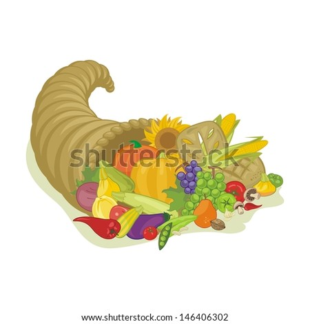 Abundance horn with various harvest fruits and vegetables - stock vector