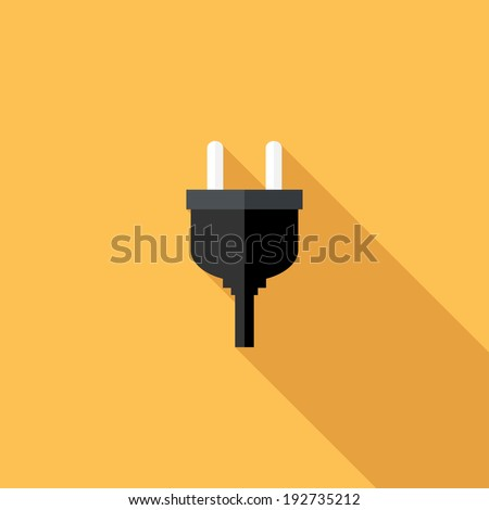 AC power plugs icon. Flat design style modern vector illustration. Isolated on stylish color background. Flat long shadow icon. Elements in flat design. - stock vector